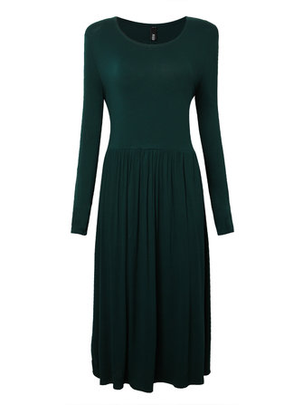 Plus Size Casual Women Long Sleeve O Neck Pleated Dress