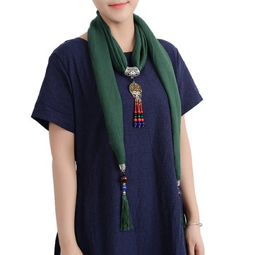 Ethnic Multifunction Women Necklace Retro Shell Flower Colorful Bead Tassel Cotton Scarf Gift