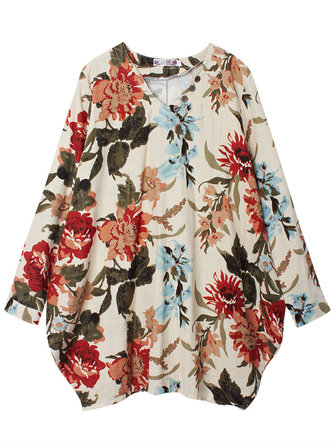 Women Pretty Floral Print Asymmetry Hem Long Sleeve Loose Dresses