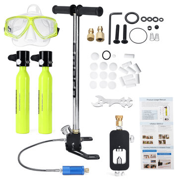8 Set MINI Portable Scuba Diving Equipment 2Pcs Spare Oxygen Air Tank Breath 10Min Diving Set