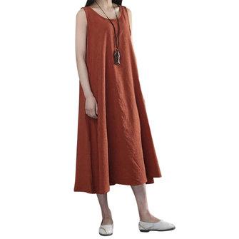 Pure Color Casual Robe mi-longue sans manches pour femme