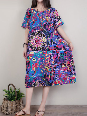 Casual Retro Random Print O-neck Short Sleeve Women Dress