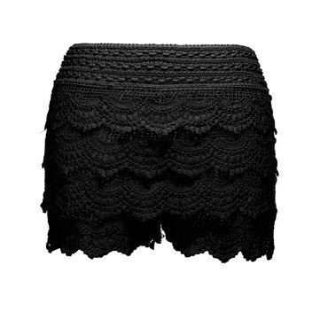 Girls Mini Lace Hem Tiered Slim Shorts