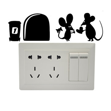 Creative Cartoon Black Mouse PVC Wall Sticker DIY Removable Decor Waterproof Wall Decor Stickers Household Home Wall Sticker Poster Mural Decoration for Bedroom Living Room