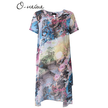 L-5XL Elegant Scenery Print Layer Dress