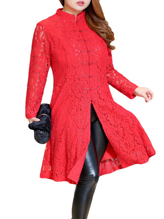 Plus Size Elegant Women Lace Frog Button Dress