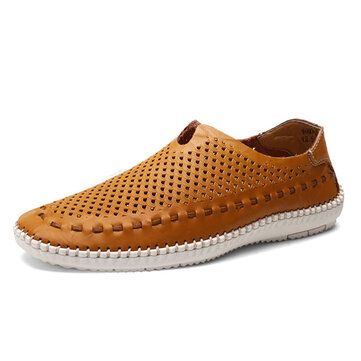 Men Soft Hand Stitching Hollow Outs Flats Loafers Breathable Shoes