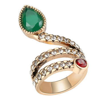 Fashion Snake Serpent Green Cubic Zirconia Crystal Ring Punk Finger Ring for Women Gir