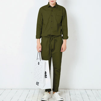 Mens Fashion Cotton Long Sleeve Double Pockets Jumpsuit