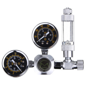 Aquarium CO2 Regulator Decompression Table Double Gauge Aluminum Alloy Acrylic