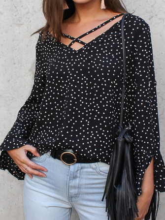 Women Polka Dot V Neck Long Ruffled Sleeve Blouse