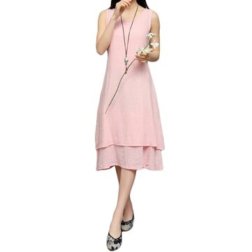 Elegant Women Fake Two-piece Sleeveless Cotton Linen Dress