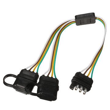 Trailer Splitter Harness Adapter 2-Way 4Pin Y-Split For Rear Camera Tailgate Light Bars