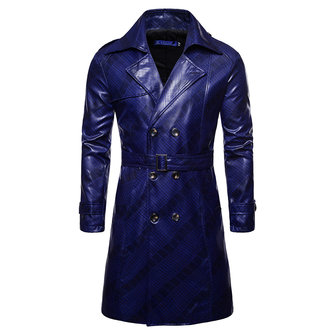 Men Double Breasted Mid Long Faux Leather Jacket Trench Coat