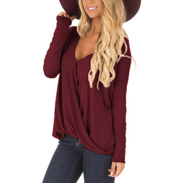 Women V-neck Long Sleeves Pure Color Surplice Loose Blouse