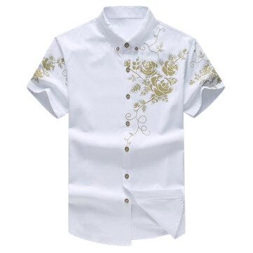 Mens Floral Printing Fashion Chinese Style Turn-down Collar Short Sleeve Big Size Shirts