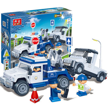 BanBao Police Trailer PullBack Car Blocks Toys Bricks Model Toy 8345 Compatible With Le go