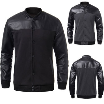 Men Fall Winter Button PU Leather Sleeve Stand-collar Coat Jacket