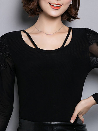 Women Elegant Slim Lace Gauze Long Sleeved Basic T-Shirt