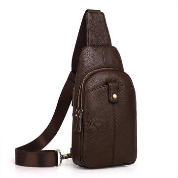Ekphero Men Genuine Leather Leisure Tablet Chest Bag Shoulder Crossbody Bag