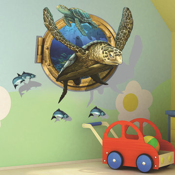 Miico Creative 3D Sea Turtle Removable Home Child Room Decorative Wall Decor Sticker
