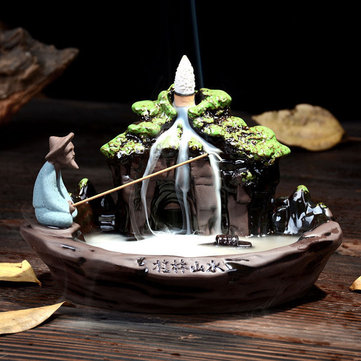 Ceramic Backflow Incense Burner Holder Mountain Stream Fragrant Cone Censer Home Furnace Decor