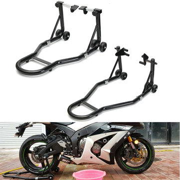 Front Rear Wheel Steel Motorcycle Lift Stand Paddock Under Fork Heavy Duty