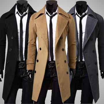 Mens Winter Long Trench Coat Double Breasted Woolen Overcoat Jacket