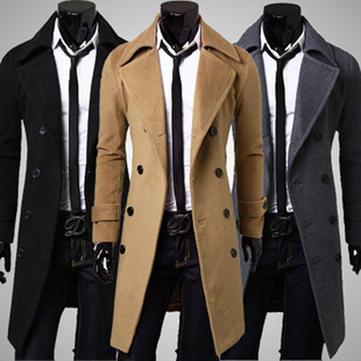 Mens Winter Long Trench Coat Double Breasted Woolen Overcoat Jacket