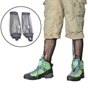 IPRee® 1 Pair Outdoor Mesh Anti Mosquito Foot Cover Insect Bite Pants Gloves Feet Protector Camping Hiking