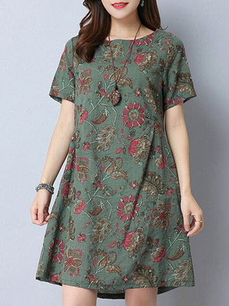 Casual Women Floral Printed Short Sleeve Mini Dress
