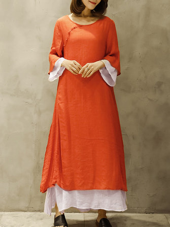Women Vintage O-Neck 3/4 Sleeve Double Layer Maxi Dress