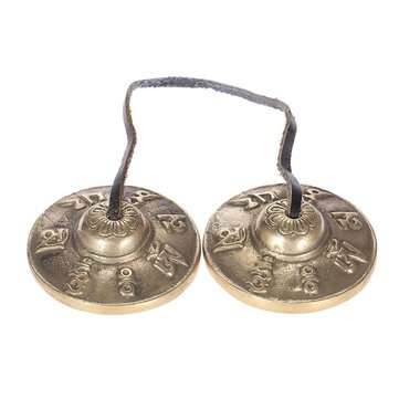 6.5cm Handcrafted Copper Tibetan Bells Six Words Mantras Tingsha
