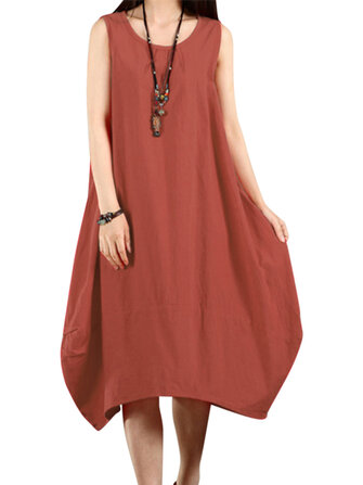 O-Newe Casual Women Solid Sleeveless Pockets Lantern Dress