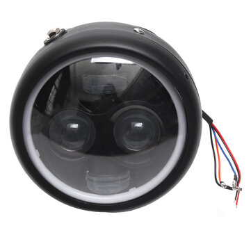 Motorcycle Cafe Racer COB LED Projector Angel Eye HeadLight Lamp