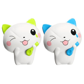 Woow Squishy Cat 13cm Slow Rising Collection Gift Cute Decor Soft Toy Blue and Green