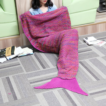 182x90cm Yarn Knitted Mermaid Tail Blanket Multicolor Handmade Crochet Throw Super Soft Sofa Bed Mat
