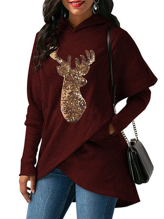 Women Casual Deer Sequins Hooded Asymmetric hoodies