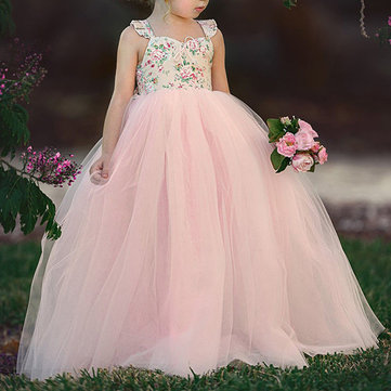 Sweet Toddler Girls Kids Robe de princesse en dentelle sans manches pour 2Y-9Y