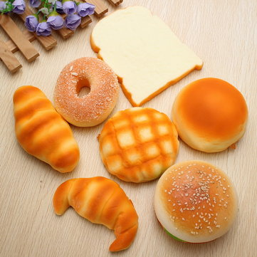 7PCS Squishy Soft Donut/Bun/Croissant Breakfast Set Random Sent
