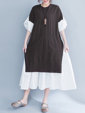Casual Women Layered Flare Sleeves A Line Dress
