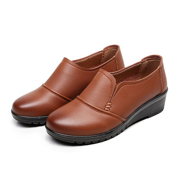 Leather Women Flat Shoes Slip On Outdoor Soft Low Top Casual Loafers