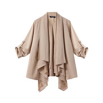 L-5XL Elegant Women Lapel Folding Sleeve Irregular Cardigans