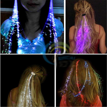 4PCS Flash LED Hair Braid 40CM Decoration Toys Christmas Party Fiber Extension Barrette
