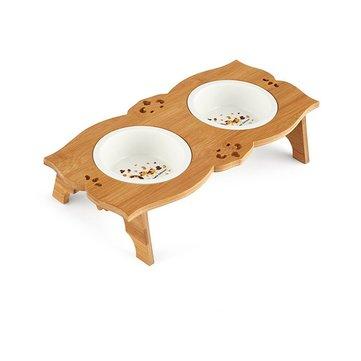 음식과 물 그릇에 대나무 스탠드와 세라믹 / 스테인레스 스틸 애완 동물 그릇 애완 동물 공급 장치 더블 그릇