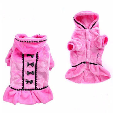 Pet Dog Cat Winter Clothes Apparel Coat Pink Black Warm Soft Fleece Puppy Coat Sweater