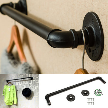 50cm Bathroom Towel Holder Bar Rack Hanger Black Towel Shelf Shower Room Iron Storage Shelves