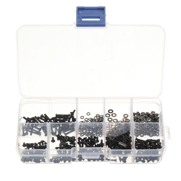 600pcs M2 Black Alloy Steel Allen Hex Socket Cap Head Button Head Flat Head Screws Assortment