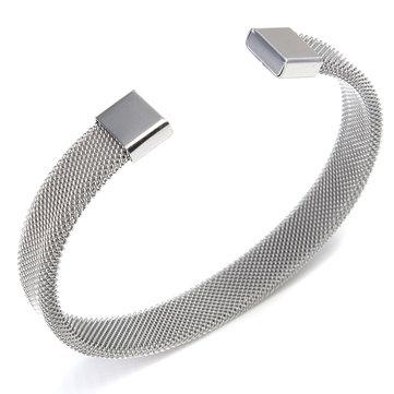 Silver Men Women Stainless Steel Jewelry Mesh Bangle Opening Bracelet