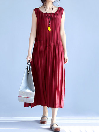 Casual Women Sleeveless Pleated Dress